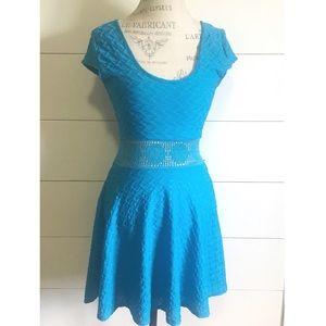 """•new•NWOT """"Secret Admirer"""" blue accent-waist dress"""